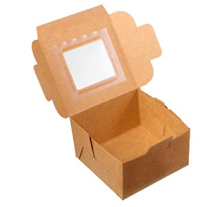 Paper Bakery Boxes Single Pastry Box 4 inch Packaging With Clear Display Pack