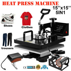 15 x15 5 In 1 Heat Press Machine Digital Transfer Sublimation T shirt Hat Shoes