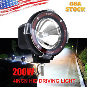 4 Inch 200w Hid Xenon Driving Light Off Road Work Lamp Euro Beam Spotlight New