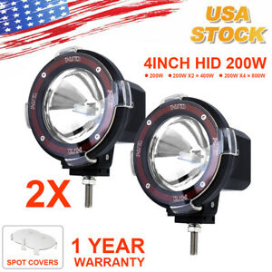 Pair 200w 4 Inch Hid Xenon Driving Light Off Road Work Lamp Euro Beam Spotlight