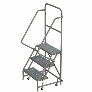 3 step Steel Rolling Ladder W perforated Steps casters 24inw 450lb Cap