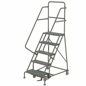 5 step Steel Rolling Ladder W steps casters 16inwx10ind Plat 450lb Cap
