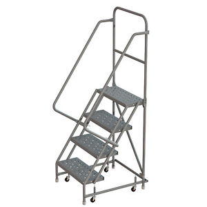 4 step Steel Rolling Ladder W steps casters 16inwx10ind Plat 450lb Cap