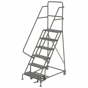 6 step Steel Rolling Ladder W perforated Steps Gry 24inwx10ind Plat 450lb Cap