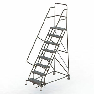 8 step Steel Rolling Ladder W perforated Steps Gry 24inwx10ind Plat 450lb Cap