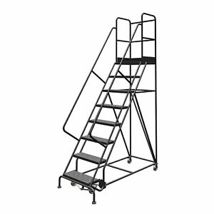 8 step Steel Rolling Ladder W perforated Steps Gry 24inwx20ind Plat 450lb Cap