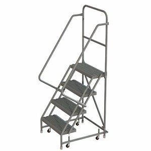 4 step Steel Rolling Ladder W serrated Steps casters 16inwx10ind Plat 450lb Cap
