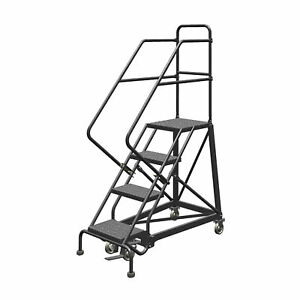 4 step Steel Rolling Ladder W perforated Steps Gry 40inh Top Step 16in 450lb Cap