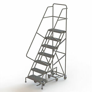 7 step Steel Rolling Ladder W perforated Steps Gry 70inh Top Step 16in 450lb Cap
