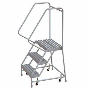 3 step Aluminum Rolling Ladder W ribbed Steps casters 16inwx14ind Plat 350lb Cap