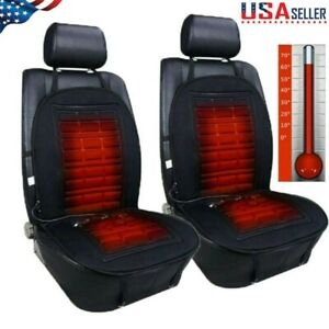 2pc Universal Car Seat Heater Heated Cushion Thickening Winter Warmer Pad Cover