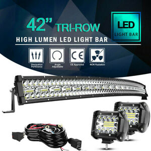 40 42inch 240w Curved Tri Row Led Light Bar Combo Offroad Truck Suv Atv For Ford