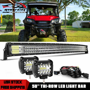 50 Inch 5d Curved Led Light Bar Combo Pods Offroad Truck For Honda Pioneer 52