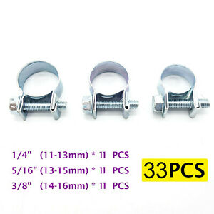 33pc 1 4 5 16 3 8 Fuel Injection Gas Line Hose Clamps Clip Pipe Clamp Metal