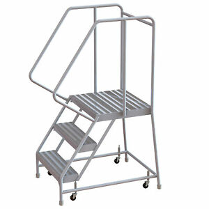 3 step Aluminum Rolling Ladder W ribbed Steps casters 16inwx21ind Plat 350lb Cap