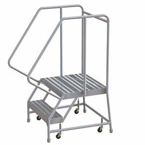 2 step Aluminum Rolling Ladder W ribbed Steps casters 16inwx21ind Plat 350lb Cap