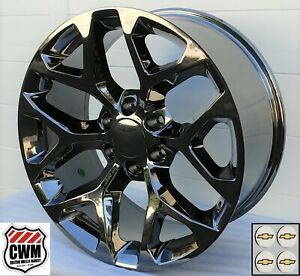 20 X9 Inch Chevy Silverado Factory Style Black Chrome Snowflake Wheels 20 X9