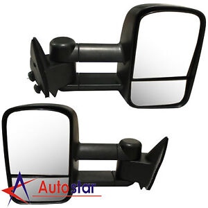 Towing Manual Side View Mirrors Pair For 88 98 Chevy Gmc Truck C k Tahoe Yukon