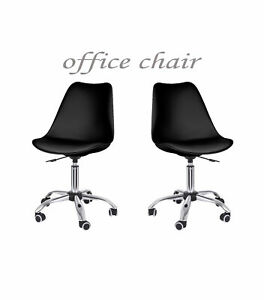 Black Armless Mid back Computer Office Chair Desk Leather Adjustable Height