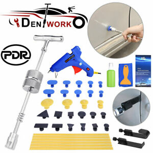 Car Body Puller Removal Slide Hammer Kit Paintless Dent Repair Tools W 28tabs