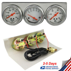 Brand New Auto 50mm Chrome Oil Pressure Water Volt Triple 3 Gauge Set Gauges Kit