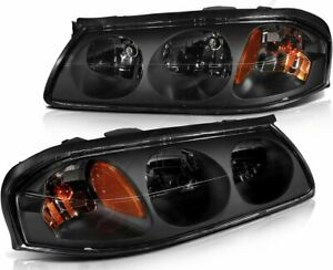 Headlight Fits 2000 2005 Chevy Impala Headlamps Assembly Black Amber Corner Pair