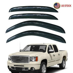 4pcs Window Visors Rain Guard For Chevy Silverado 1500 2500 Crew Cab 2007 2013