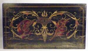 Vintage Wooden Box Sewing Trinket Jewelry Black Paint Flowers Large Carrie
