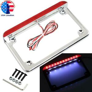 Chrome Motorcycle License Plate Frame With Led Light Brake Tail Light Universal