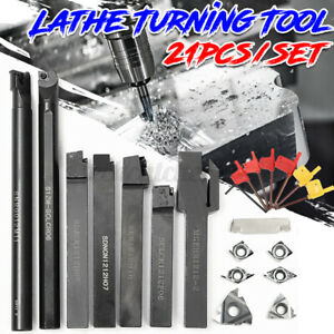 7 Set 12mm Lathe Turning Tool Holder Boring Bar 7pcs Dcmt Ccmt Carbide Inserts