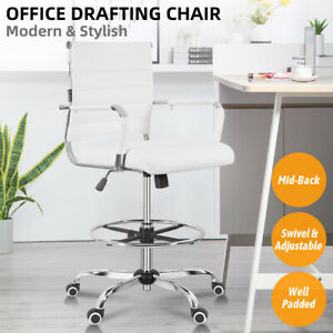 Office Drafting Chair Ergonomic Pu Metal Computer Desk Stools Adjustable Swivel