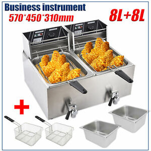 Double Electric Deep Fryer 8l 8l Liter Commercial Tabletop Restaurant Fry Basket