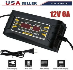 12v 6a Auto Fast Lead Acid Gel Battery Charger Trickle For Car Motorcycle Lcd Us