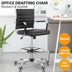 Office Drafting Chair Mid Back Ergonomic Pu Computer Desk Seat Adjustable Swivel