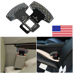 2pcs Seat Belt Buckle Universal Car Safety Extension Extender Clip Alarm Stopper