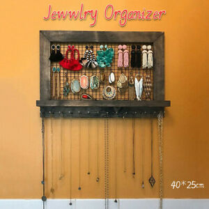 Rustic Brown Jewelry Organizer Wooden Wall Mounted Holder For Earrings Necklace