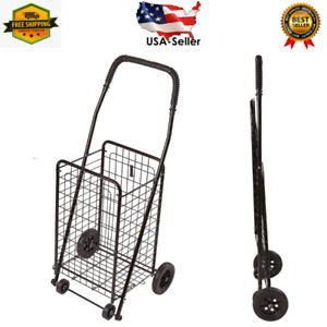 Folding Utility Cart On Wheels Shopping Trolley Lightweight Folding Cart Black