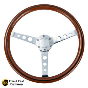 6 Bolt 15 Wood Grain Trim Classic Wooden Steering Wheel Chrome Spoke 380mm