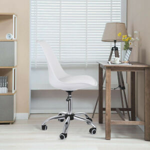 White Armless Computer Office Desk Pu Chair Mid Back Leather Adjustable Height