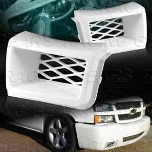 Painted White Air Duct Front Bumper Caliper 2pcs Fit 03 07 Chevy Silverado 1500