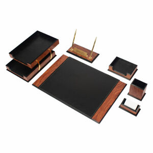 Desk Set Prestige Leather Wood Desk Set 8 Accessories Rose Black Free Shipping