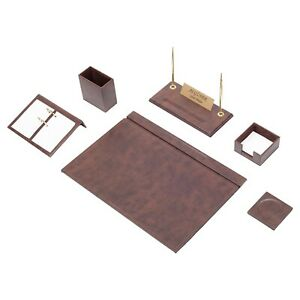 Desk Set 8 Accessories Brown Leather Free Shipping Hand Made