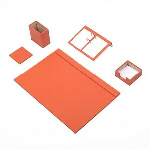 Desk Set 5 Accessories Orange Leather Free Shipping Hand Made