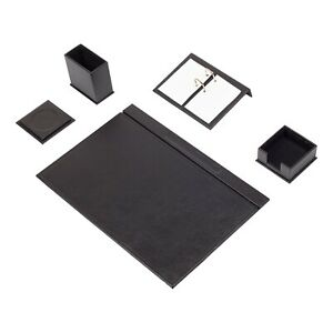 Leather Desk Set 5 Accessories Black Free Shipping