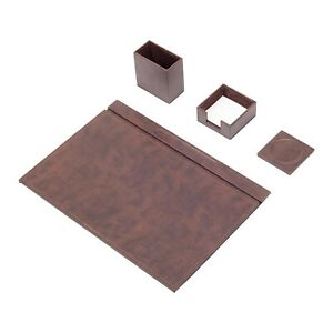 Leather Desk Set 4 Accessories Brown Free Shipping