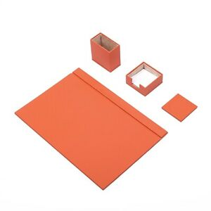 Leather Desk Set 4 Accessories Orange Free Shipping