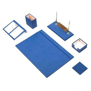 Desk Set 8 Accessories Blue Leather Free Shipping Hand Made