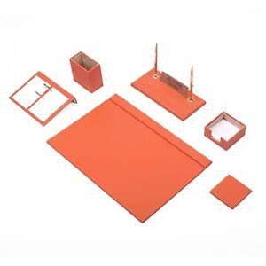 Desk Set 8 Accessories Orange Leather Free Shipping Hand Made
