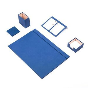 Desk Set 5 Accessories Blue Leather Free Shipping Hand Made