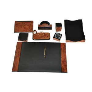 Desk Set Karizma Leather Wood Desk Set 8 Accessories Rose Black Free Shipping